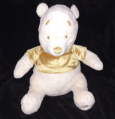 "Winter Gold 22"" WINNIE THE POOH Plush Bear w Gold Shirt Necklace DISNEY STORE"
