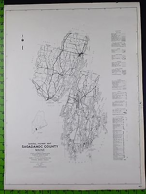 1938 Sagadahoc County Somerset Maine Double Sided Highway Map 18x24 Inches