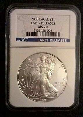 2008 American Silver Eagle - Early Releases - Ngc Ms 70! Perfect!
