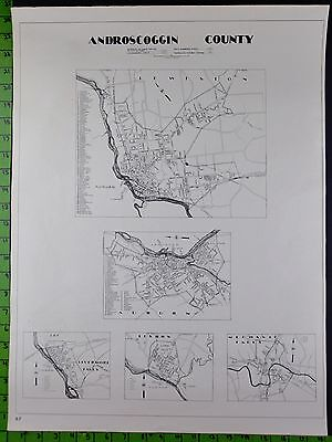 1938 Androscoggin County Somerset Maine Double Sided Highway Map 18x24 Inches