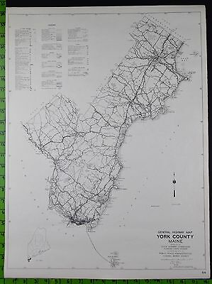 1938 York County Somerset Maine Highway Map 18x24 Inches