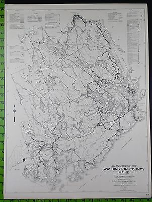1938 Washington County York County Maine Highway Map 18x24 Inches