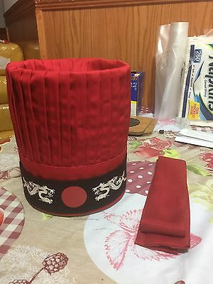 Premade Wholeset Hibachi chef Hat Red