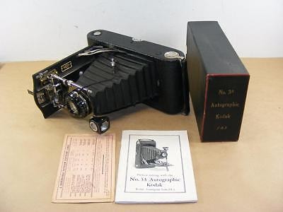 Vtg Antique Kodak 3A Antographic Camera with Box & Instructions