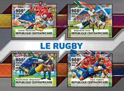 Central African Rep 2016 MNH Rugby England Wales Scotland 4v M/S Sports Stamps