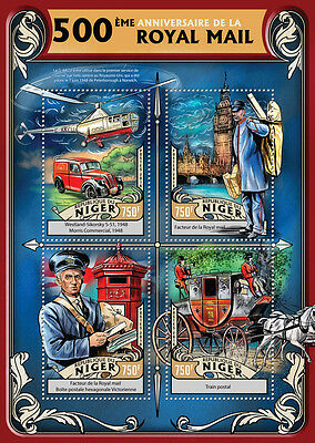 Niger 2016 MNH Royal Mail 500th 4v M/S Big Ben Helicopters Pillar Boxes Stamps