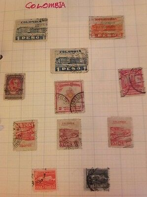 11 Old Colombia Stamps