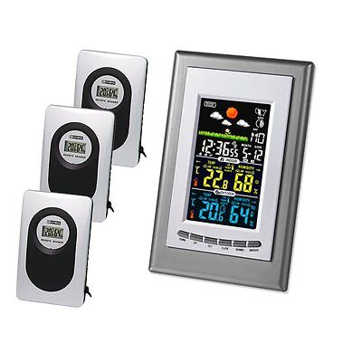 UK Weather Station Clock Thermometer Humidity Temperature With 3 Sensors
