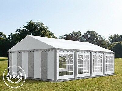 5x8m Heavy Duty PVC Gazebo Marquee, Steelconstruction, Party Tent, grey-white