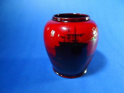 Early 1900's Royal Doulton Flambe Vase Decorated Sailing Ship In Harbour Scene