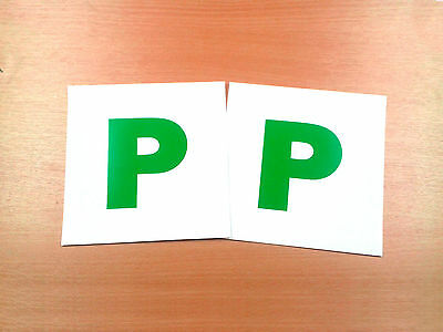 2 x Pass Plates P Plate Green New Driver Pack of Two Removable Stickers