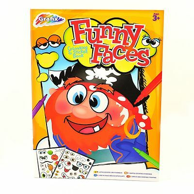Funny Faces - Activity Colouring and Sticker Book - Size 297mm x 215mm