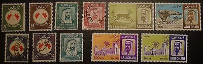 Abu Dhabi lot of 11 stamps to 1Dinar, mainly FU or unused (no gum)