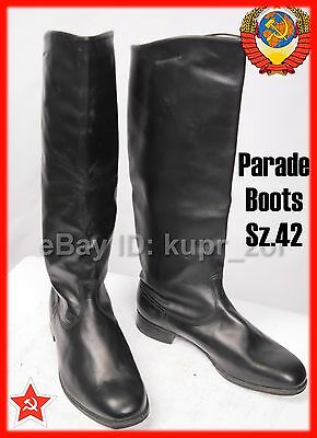 NEW Sz.42 Soviet Parade Chrome  Leather Army Officer High Boots