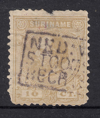 SURINAM 1873 10c King William Fine Used (Faults)