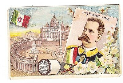 Victorian Trade Card---Clark's Mile-End Spool --- King Humbert-Italy