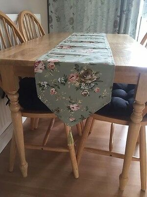 New Table Runner Sage Green Floral Country 248X30cm Dining Christmas Kitchen