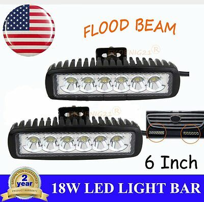 2x 18W 6inch Spot LED Fog Light Bar Lamp Work Offroad Boat ATV Driving UTE HMX