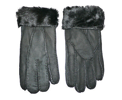 Mens Shearling Leather Sheepskin Fur Warm Lined Bailey Winter Gloves Brown Black