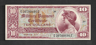 Series 521 $10 Military Payment Certificate - Vibrant Color  Very Fine+
