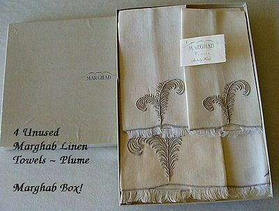 4 Unused MARGHAB Linen Towels Orig Box Plume Pattern FINEST Madeira Vintage