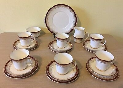 Vintage Royal Grafton Majestic Red/Gold 21 Piece Tea/Coffee Set for 6 people