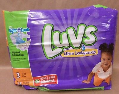 Luvs Diapers Ultra Leakguards Night Lock 34 Count Size 3 Monkey Theme Brand New