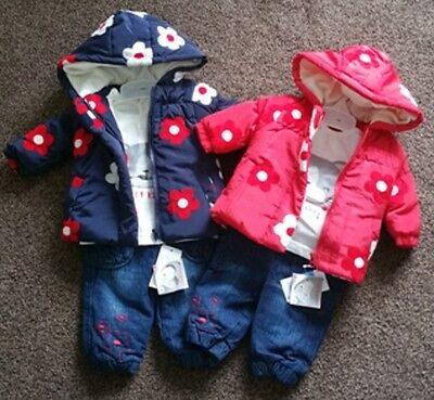 Girls Baby Kids 3 Piece Outfit Top Trouser & Warm Jacket Set Age 3-24 Months NEW