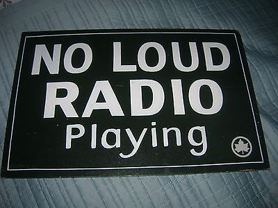 """Vintage Wooden Sign """"no Loud Radio Playing"""" New York Park System 1960's /70's"""