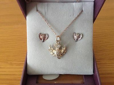 BNIB Heather Glen Sterling Silver Necklace And Earring Set Thistles Scotland
