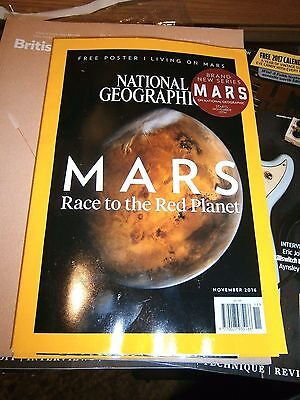 National Geographic Magazine November 2016 (new) with Free Mars Poster
