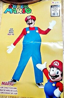 Super Mario Deluxe Boys Size 7 - 8  Halloween Costume Worn Once w/Tummy Pillow