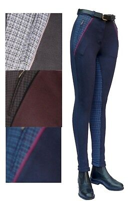 "Ladies Classic Check Seat Jodhpurs. 3 colours - sizes 24"" - 36"". Great Price!"