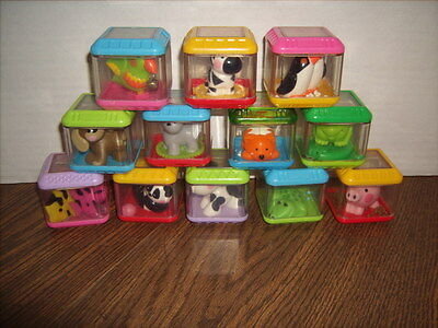 12 Fisher Price Peek A Blocks with Animals Cat Dog Frog Pig Zebra Bird and More