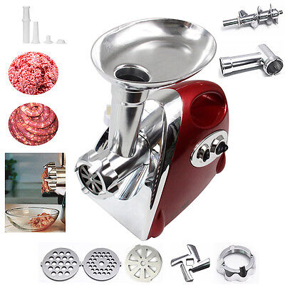 Stainless Stell Electric Meat Mincer Sausage Maker Grinder Filler 2800 Watt Red