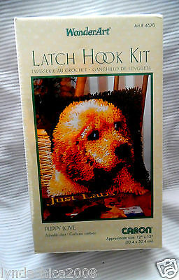 PUPPY LOVE Latch Hook Kit #4670 By Wonder Art (12 X 12 INCHES)