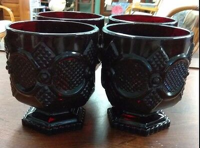 Four Vintage Avon 1876 Cape Cod Ruby Red Glass Short Footed Water Goblets