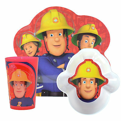Fireman Sam | Hero Next Door 3pc Melamine Tumbler, Bowl & Plate Mealtime Set