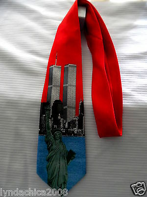 New York TWIN TOWERS World Trade Center Statue of Liberty Commemorative Necktie