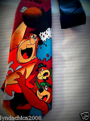 Vintage FLINTSTONES YOGI BEAR BASKETBALL Necktie Cartoon Network 1995