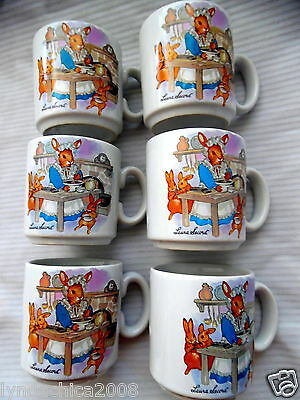 Vintage LAURA SECORD Chocolate Advertising Porcelain Children's Cups (Set of 6)