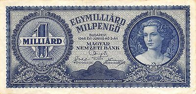 Hungary  1 Milliard Milpengo  3.6.1946  P 131  Circulated Banknote GH14