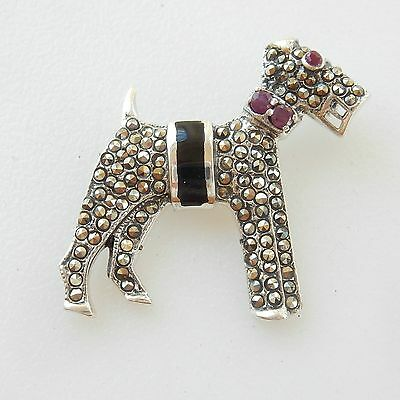 Art Deco Solid Silver Marcasite & Ruby Yorkie Dog Brooch Hallmarked