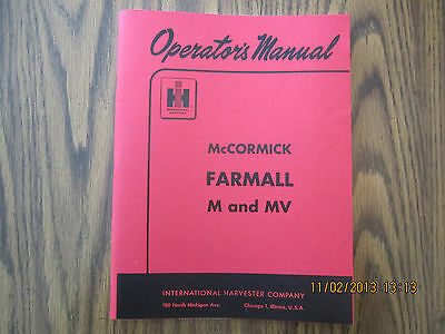 Farmall M and MV Tractor Owner Operator's Manual New