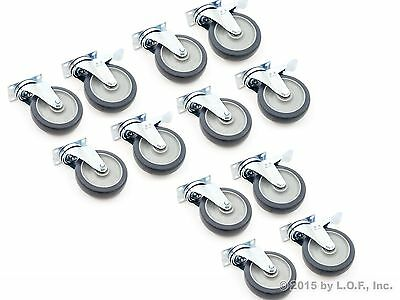 """12 Plate Casters with 5"""" Polyurethane Wheels All Swivel and 6 Brake Tough Caster"""