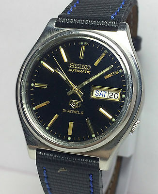 Genuine Vintage Seiko 5 Automatic 21 Jewels Day/date Men's Excellent Wrist Watch