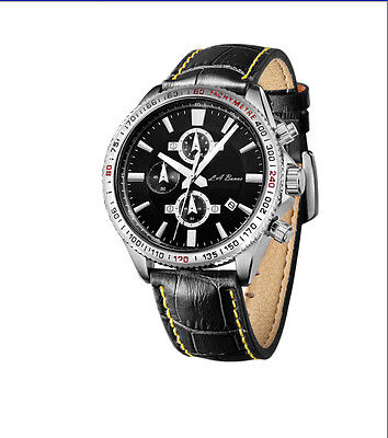 Mens Stainless Steel Chronograph Watch Silver Tw Black Leather Daytona Gift Box