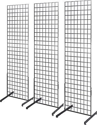 Gridwall Panel Tower with T-Base Floorstanding Display Kit, 3-Pack Black 2'x4'