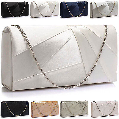 Satin Bridal Wedding Women Clutch Glitter Pleated Bridesmaid Ladies Evening Bags