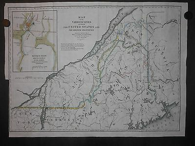 United States 1843 Map New Hampshire New York Maine Canada Various Boundary Line